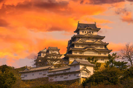 Ancient Samurai Castle of Himeji with Dramatic Sky during Sunset   Japan  Stock Photo