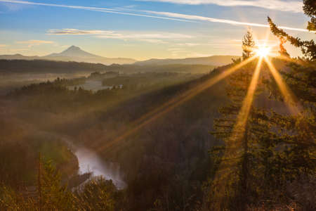 oregon cascades: Beautiful Image of Mt  Hood taken during sunrise from Jonsrud view point in Sandy, Oregon, USA  Stock Photo