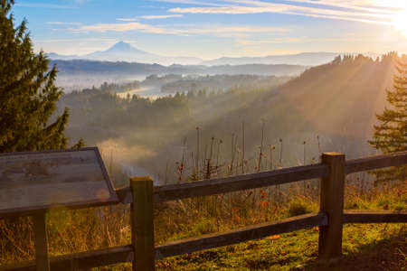 Beautiful Image of Mt  Hood taken during sunrise from Jonsrud view point in Sandy, Oregon, USA  Imagens