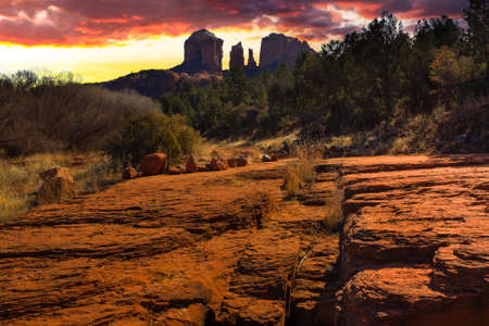 Nice Sunset Image of Cathedral Rock in Sedona; Arizona  photo