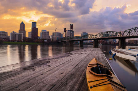 portland: Portland, Oregon Panorama   Sunset scene with dramatic sky and light reflections on the Willamette River