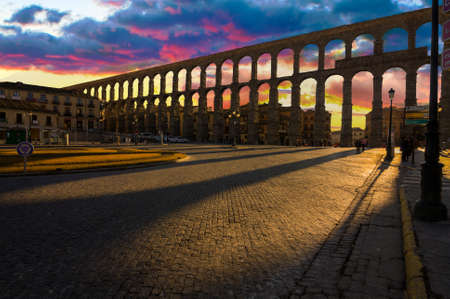 segovia: Ancient Aqueduct in Segovia Spain   A historic european landmark  Stock Photo