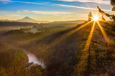 mt hood: Beautiful Image of Mt  Hood taken during sunrise from Jonsrud view point in Sandy, Oregon, USA  Stock Photo