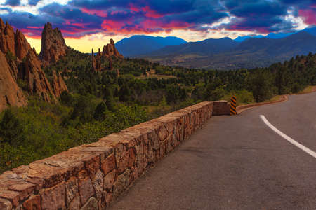 Majestic Sunset Image of the Garden of the Gods with dramatic sky Stock Photo - 30177895