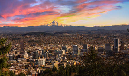 mt hood: Sunrise View of Portland, Oregon from Pittock Mansion. Stock Photo