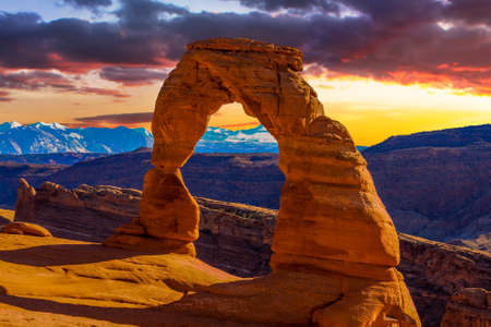 natural arch: Beautiful Sunset Image taken at Arches National Park in Utah