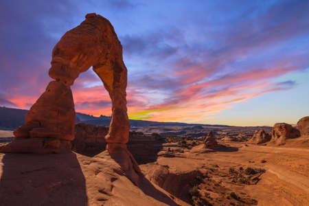 Mooie Zonsondergang Afbeelding genomen op Arches National Park in Utah Stockfoto