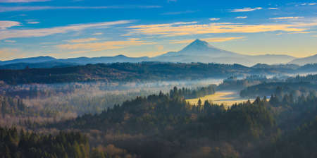 mt hood: Beautiful Image of Mt. Hood taken during sunrise from Jonsrud view point in Sandy, Oregon, USA. Stock Photo