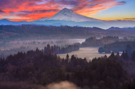oregon cascades: Beautiful Image of Mt. Hood taken during sunrise from Jonsrud view point in Sandy, Oregon, USA. Stock Photo