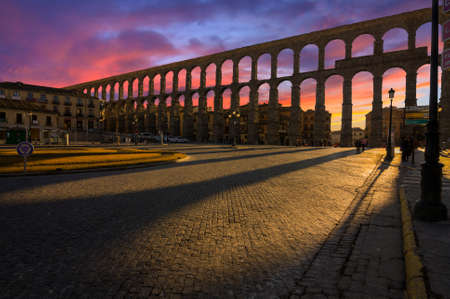 segovia: Ancient Aqueduct in Segovia Spain.  A historic european landmark.