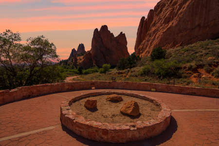 scrambling: Majestic Sunset Image of the Garden of the Gods with dramatic sky.