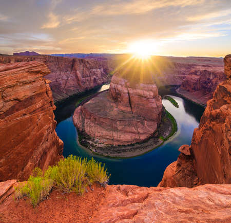 Amazing Sunset Vista of Horseshoe Bend in Page, Arizona Stock Photo