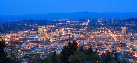 View of Portland, Oregon from Pittock Mansion at Night.