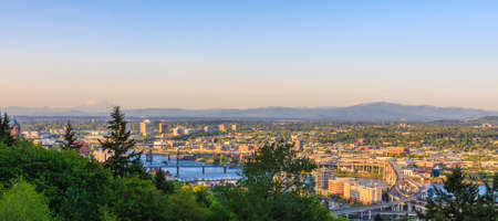 Beautiful Panorama of Portland Oregon at Night.
