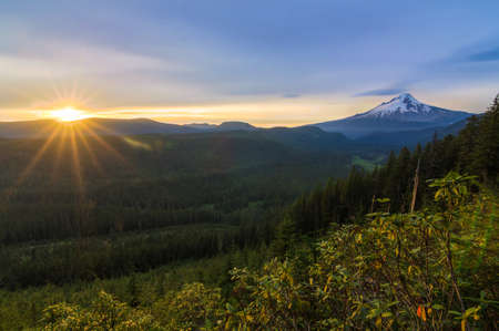 mount hood national forest: Majestic View of Mt. Hood on a bright, colorful sunset during the summer months.