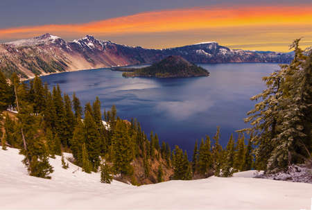 Crater Lake image takne at Sunset Stock Photo