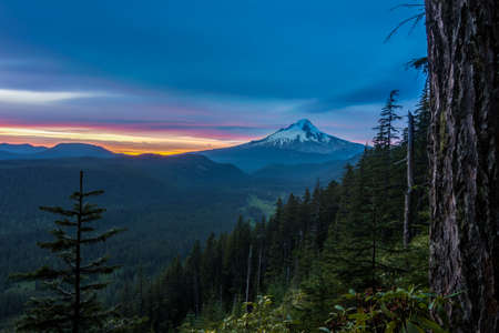 mt  hood national forest: Majestic View of Mt. Hood on a bright, colorful sunset during the summer months.
