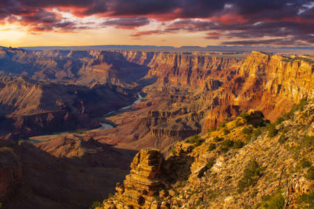 colorado river: Beautiful Landscape of Grand Canyon from Desert View Point with the Colorado River visible during dusk
