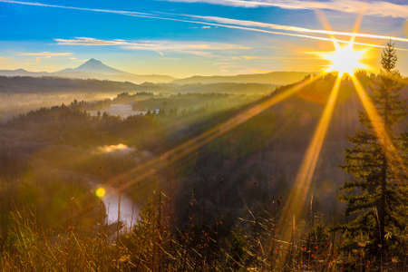bends: Beautiful Panorama of Mt. Hood taken during sunrise from Jonsrud view point in Sandy, Oregon, USA