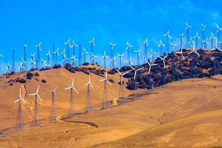 Overdag beeld van een Elektriciteit Windfarm