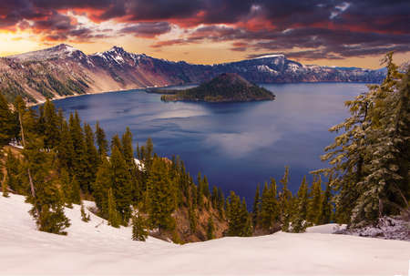 crater lake: Crater Lake image takne at Sunset Stock Photo