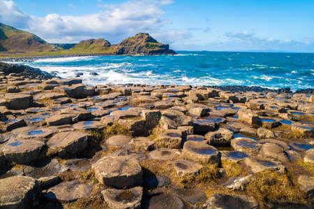 Landschap van de Giant's Causeway Noord-Ierland Stockfoto