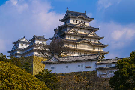 feudal: Ancient Samurai Castle of Himeji with Blue Cloudy Sky in  Japan