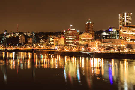 nighttime: View of Portland, Oregon overlooking the willamette river