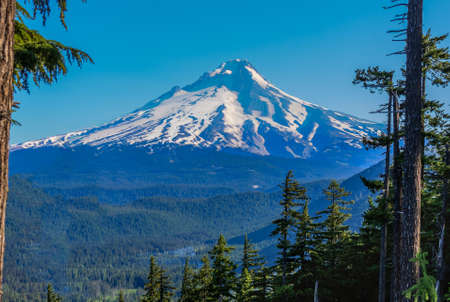mt  hood: Majestic View of Mt. Hood on a bright, sunny day during the summer months. Stock Photo