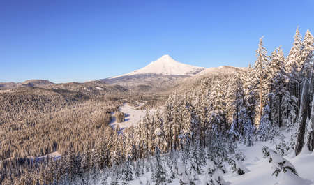 mt hood national forest: Majestic View of Mt. Hood on a bright, sunny day during the Winter months.