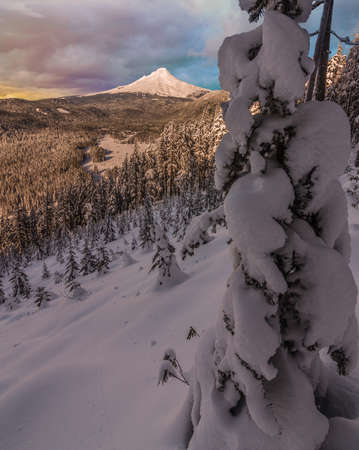 mt  hood national forest: Majestic View of Mt. Hood on a stormy evening during the Winter months.