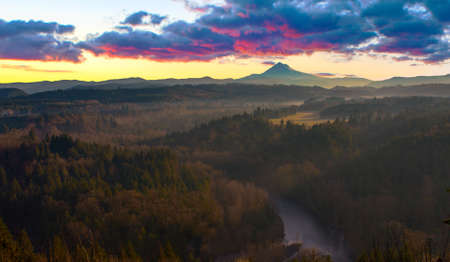 Beautiful Image of Mt. Hood taken during sunrise from Jonsrud view point in Sandy, Oregon, USA