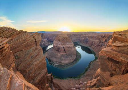 Amazing Sunset Vista of Horseshoe Bend in Page, Arizona Imagens