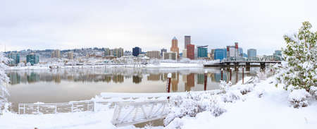 Snowy Landscape of Portland Oregon USA by Waterfront Imagens