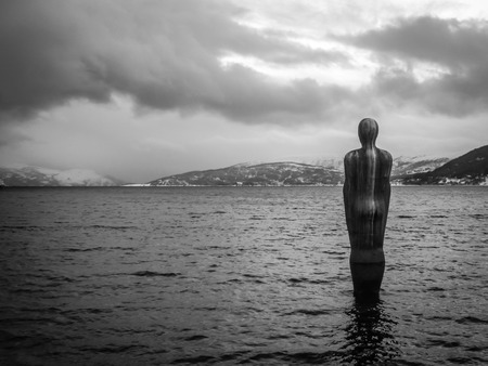 fjords: A mysterious sculpture. Stock Photo
