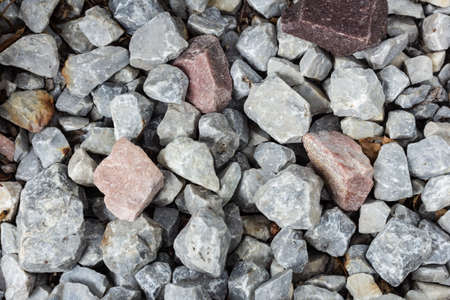 Close up of crushed rock, stone raw material for construction industry
