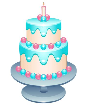Cake Two-tier birthday cake with a candle on a stand. Cake decorated with pastry cream, glaze and sweets in pink and blue shades on a silver dish - full color vector illustration. white isolate Ilustracja