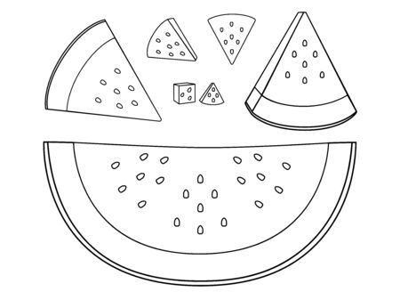 Watermelon A variety of slices of watermelon. Set of slices of watermelon of different sizes, peeled and not peeled - linear vector illustration for coloring. Outline hand drawing. white isolate