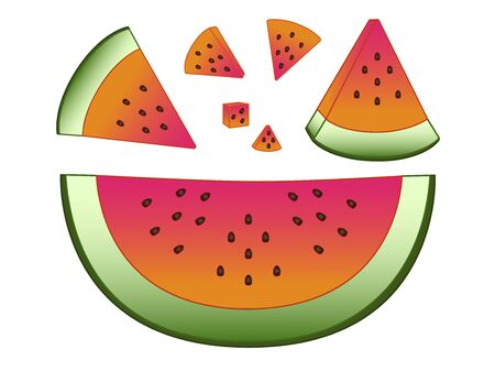 Watermelon A variety of slices of watermelon. Set of slices of watermelon of different sizes, peeled and not peeled - vector full color picture. white isolate