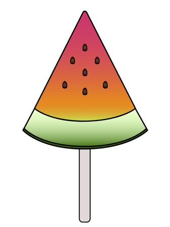 Watermelon A triangular slice of watermelon on a wooden stick is a summer treat. Sweet watermelon with a crust and pits - vector full color picture. white isolate