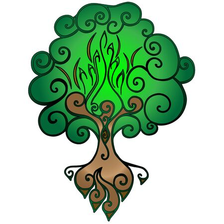 Tree of Life. Bright stylized tree with a hollow and roots vector illustration.