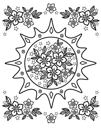 Spring flowers. Drawing for coloring anti-stress. coloring book for adult and older children. Vector illustration. Outline