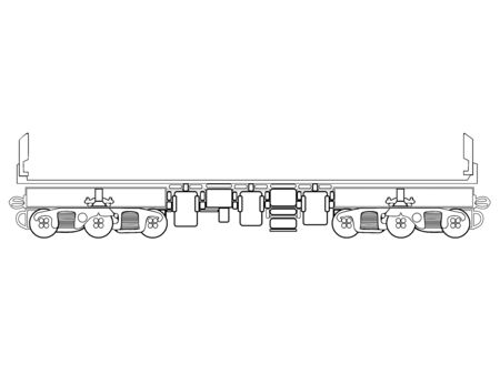 Railway carriage. Railway freight car. Cargo platform. Transportation of goods by train. Line drawing. Outline