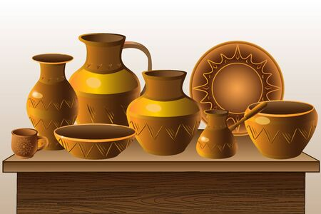 Pottery. Counter with pottery - a variety of ethnic dishes. Pitchers, vases, plate, cup, pot, coffee maker on a wooden table.