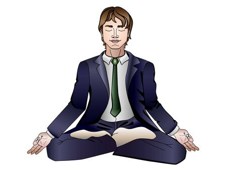 A man meditating in a business suit in a lotus pose. Linear picture with a gradient on a white background. Illustration