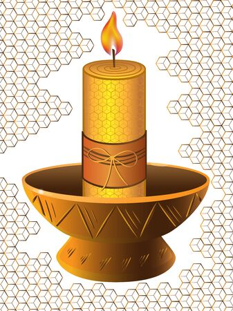 Wax candle in a ceramic candlestick with a background of honeycombs.