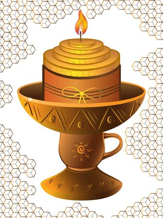 A small thick candle burns in a clay candlestick with ornament. Candle against the background of honeycombs. Ilustracja
