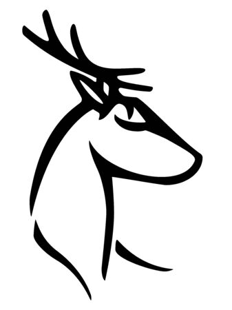 Deer. Stylized deer head for christmas decorations. Linear deer head sign for logo. Deer logo. Outline hand drawing