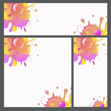 Bright splashes, picturesquely spilled paint - set of backgrounds for mobile applications, websites or printing - vector set with copy space. Banner, postcard or wallpaper with bright drops and blots.