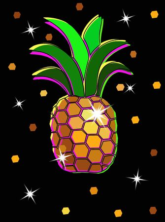 Golden shiny pineapple. Color image of Pineapple with glitter on a black background. Bright fashionable summer print. Template for print, decorative floral jewelry element.